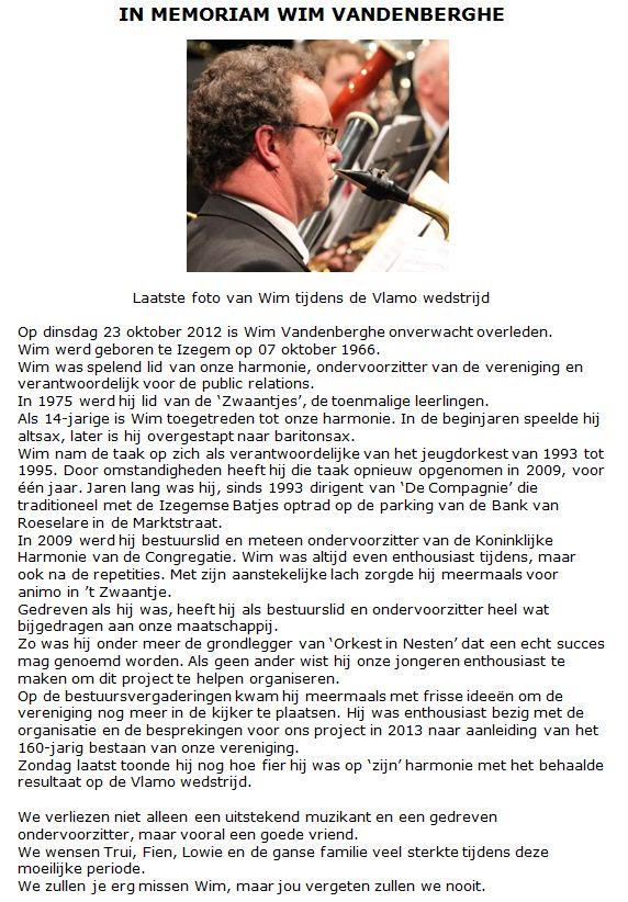 In memoriam Wim Vandenberghe